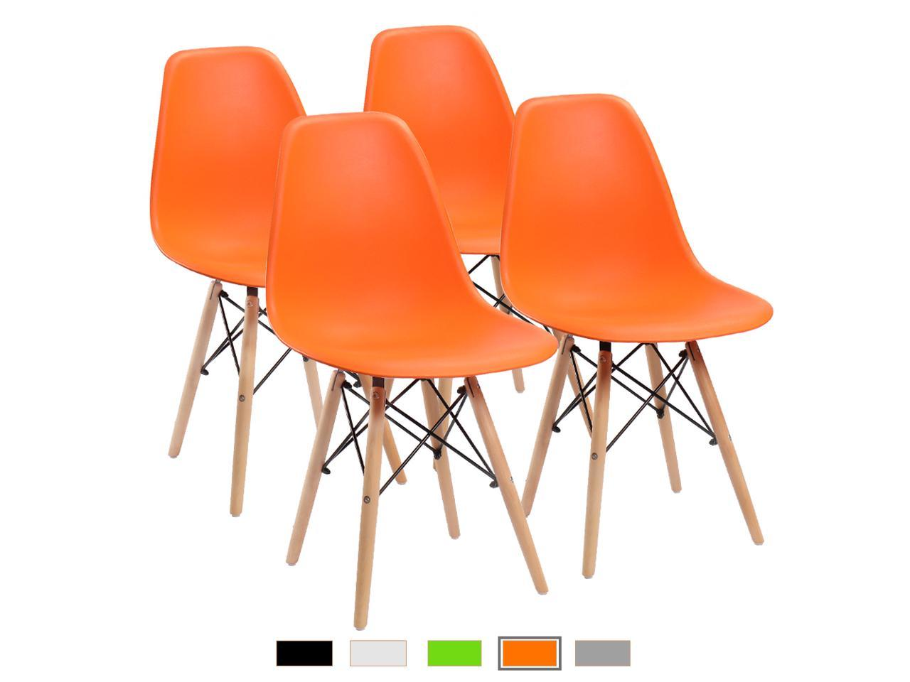 Furmax Pre Assembled Modern Style Dining Chair Pre Assembled Orange Effiel Modern Dsw Chair Shell Lounge Plastic Chair For Kitchen Dining Bedroom Living Room Side Chairs Set Of 4 Newegg Com
