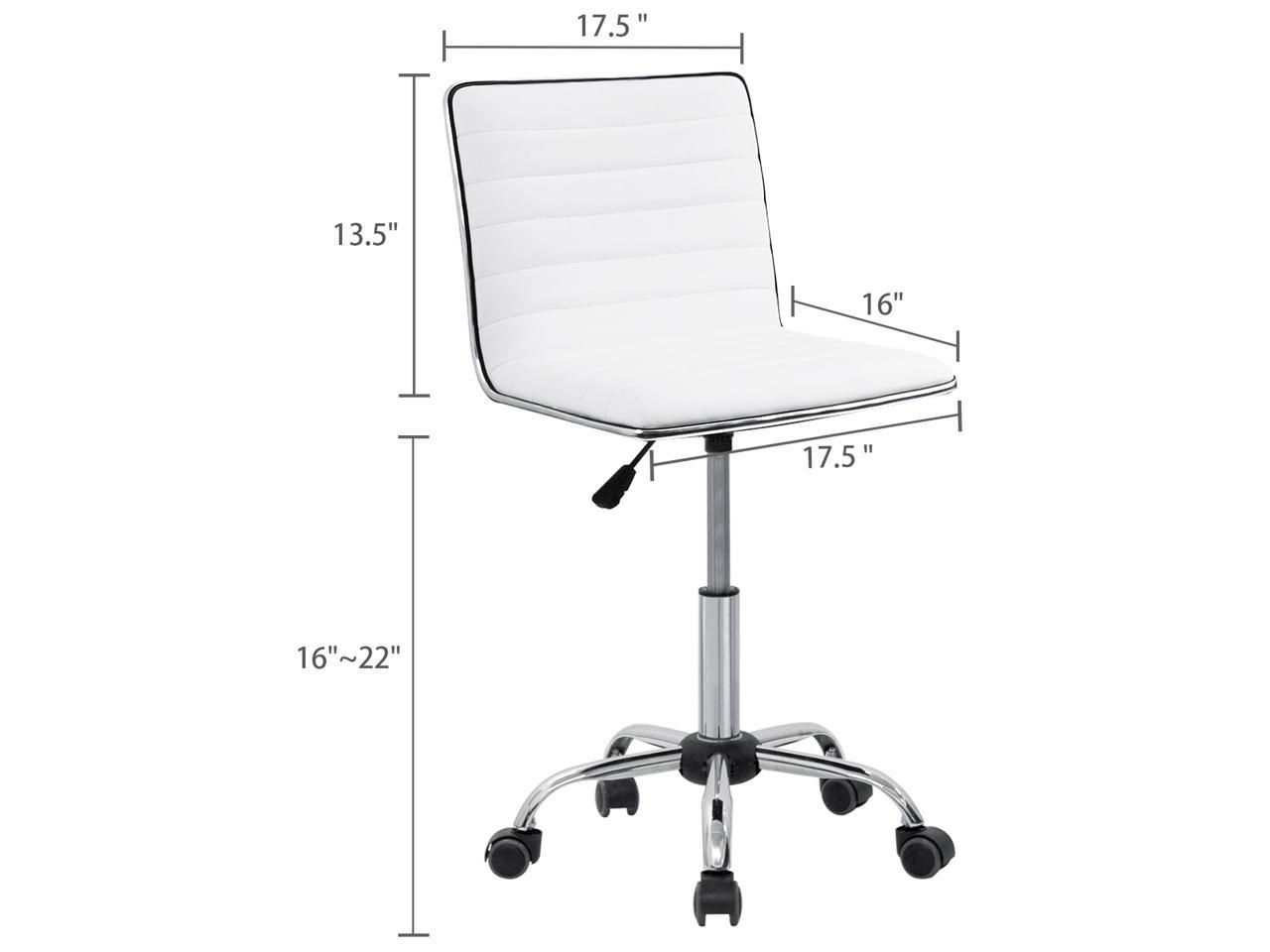 PU Leather Low Back Armless Desk Chair Ribbed Armless Swivel Task Chair Office