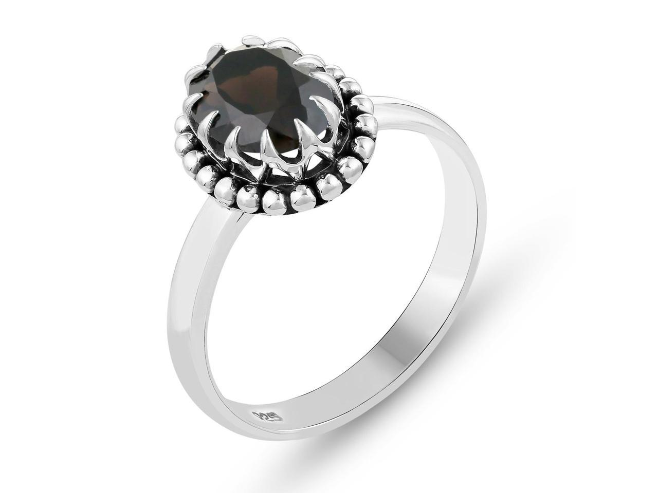 Oxidized silver jewelry Gemstone gift Jewelry sale Ring with Cubic zirconia Personalized jewelry Black silver ring Floral jewelry set