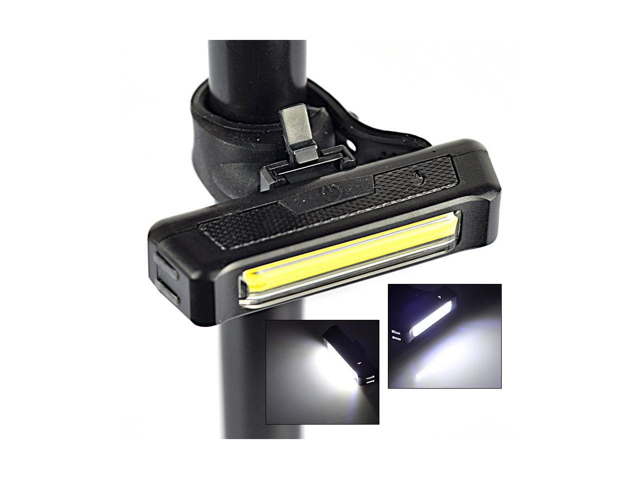 100LM USB Rechargeable COB LED Bicycle Bike Cycling Front Rear Tail Light  W#S