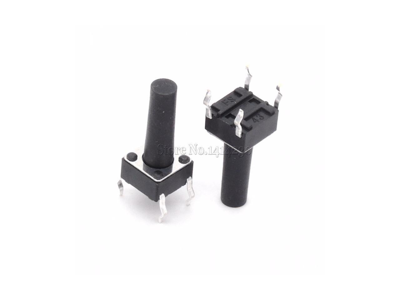 100Pcs Tactile Push Button Switch Tact Switch 6X6X13mm 4-pin DIP NEW