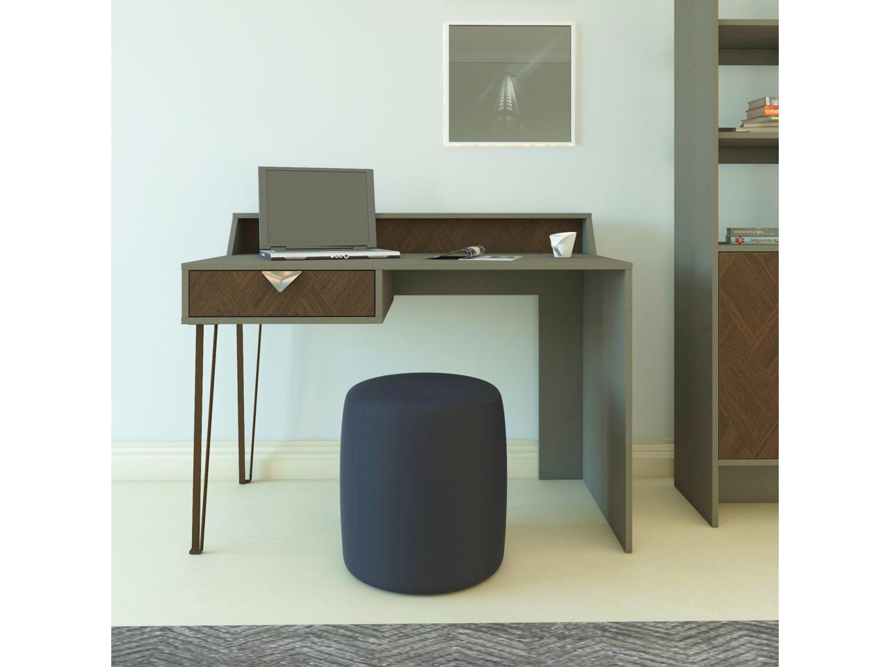 Image of: Decorotika Linea 47 Wide Modern Study Writing Computer Desk With A Drawer Vintage Brown And Black Newegg Com