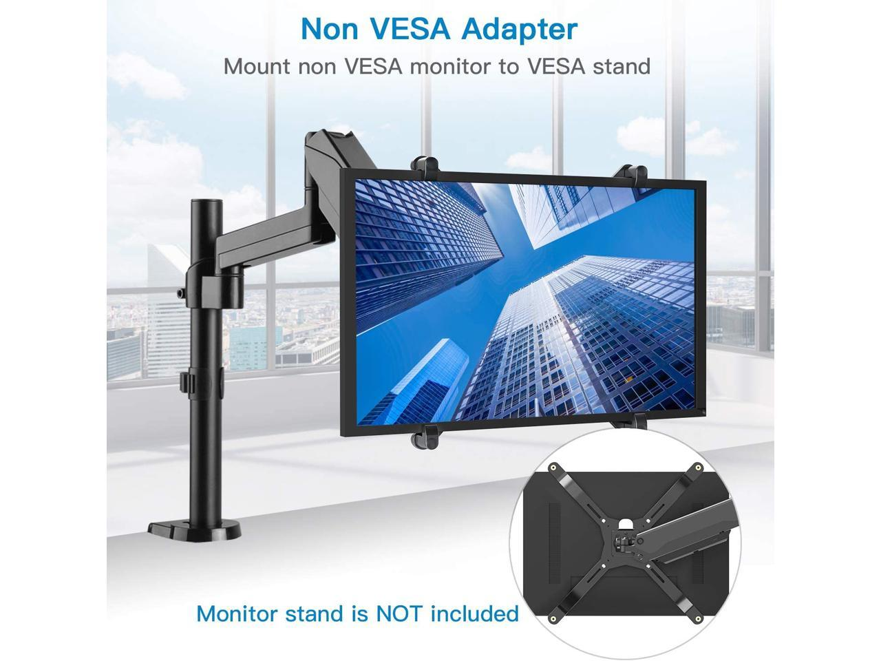 Existing Monitor Brackets Should with 75 mm VESA Plate HUANUO Non-VESA Adapter Monitor Arm Mounting Kit for 17-27 LED LCD OLED Screens without VESA Holes