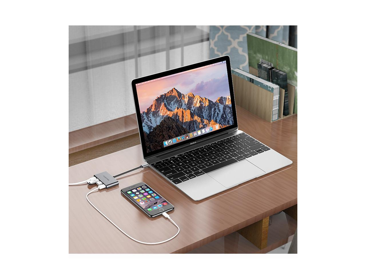 New Mac Air//Surface 3*USB3.0 Compatible 2020-2016 MacBook Pro 13//15//16 C13se, Space Gray LENTION 4-in-1 USB-C Hub with Type C Multiport Charging /& Connecting Adapter More ChromeBook