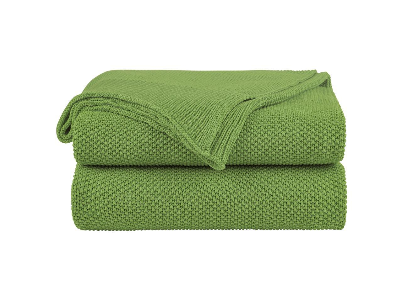 Knit Throw Blanket Cotton Moss Stitch Super Soft Warm Blanket for Couch Sofa