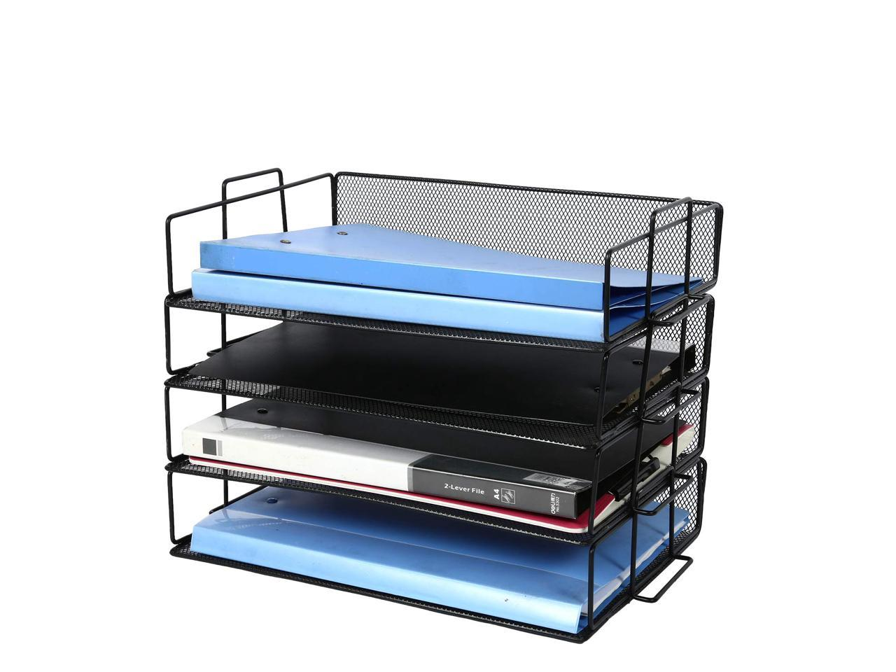 CLATINA 4-Tier Metal Mesh File Rack  Letter Tray Paper Document Holder Office