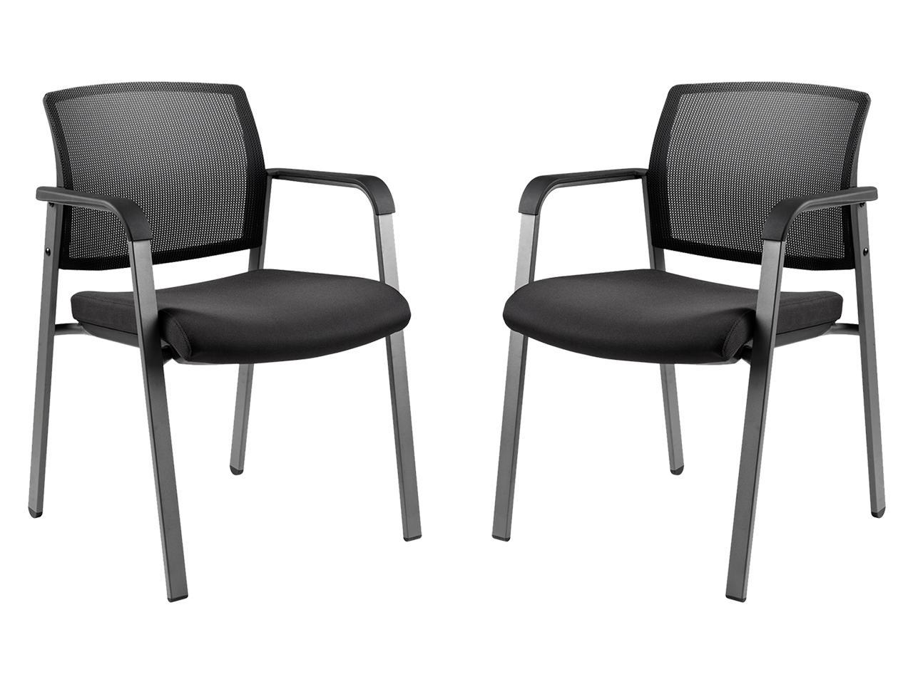 Picture of: Clatina Office Reception Chairs With Ergonomic Lumber Support And Mesh Guest Chair For Office Waiting Room Set Of 2 Black Newegg Com