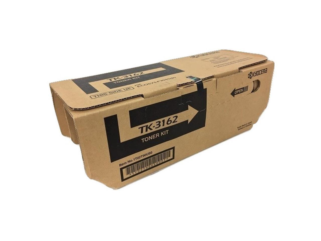 Up to 12500 Pages Yield @ 5/% Coverage Kyocera 1T02T90US0 Model TK-3162 Black Toner Kit for use with Kyocera ECOSYS P3045dn Monochrome Laser Printer Pack of 2