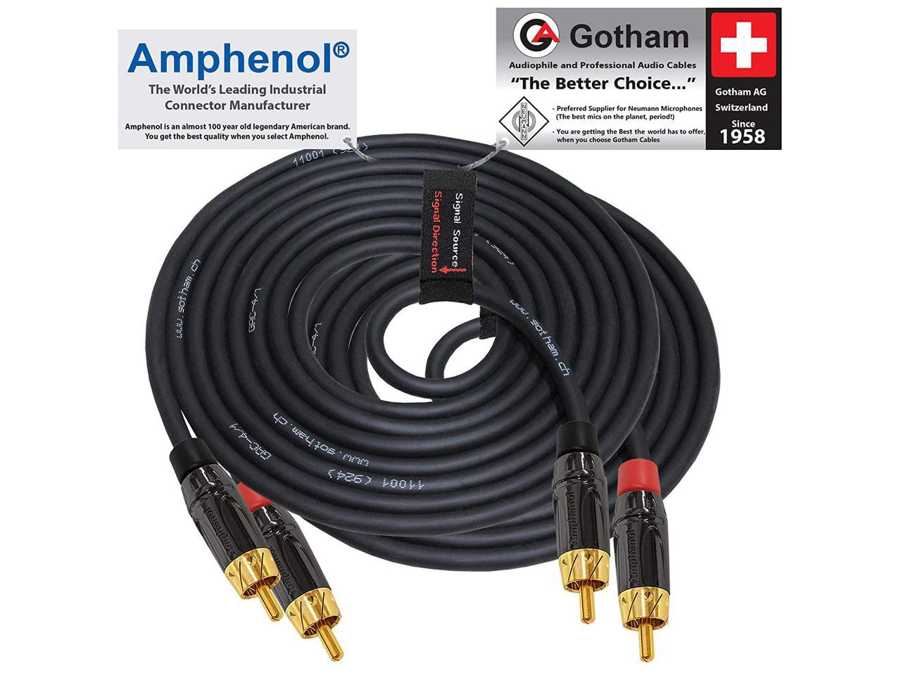 Gold Plated RCA Connectors 10 Foot RCA Cable Pair Gotham GAC-4//1 Directional Star-Quad Audio Interconnect Cable with Amphenol ACPR Die-Cast Black