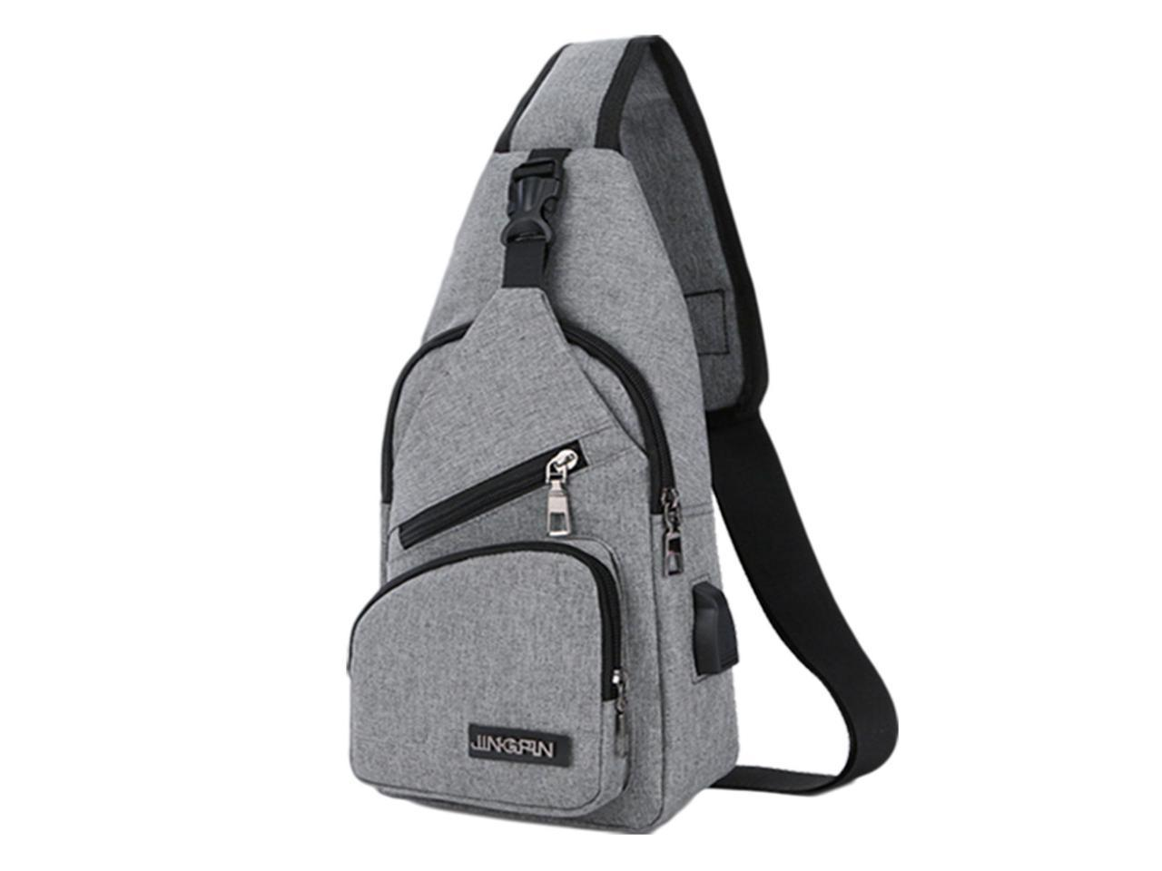Mens Shoulder Bag Sling Chest Pack Sports Crossbody School With USB Charging NEW