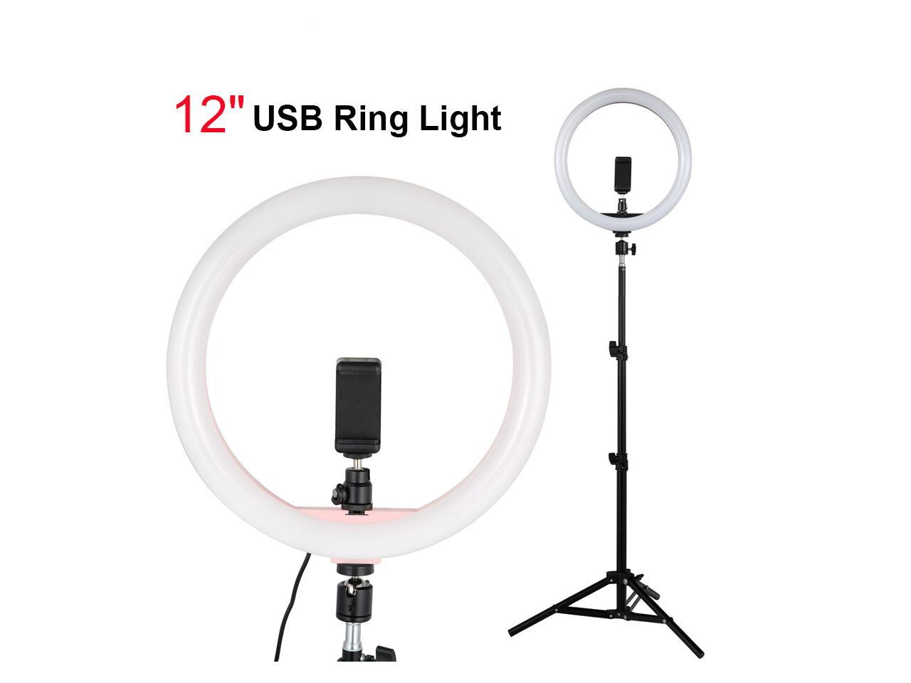SMD Ring Light 12 Inch with Tripod Stand/&Cell Phone Holder for Live Streaming//Makeup,Live Mini Desktop Camera Selfie Ring Light for YouTube Video Photography Compatible with Plastic Color Filter Set