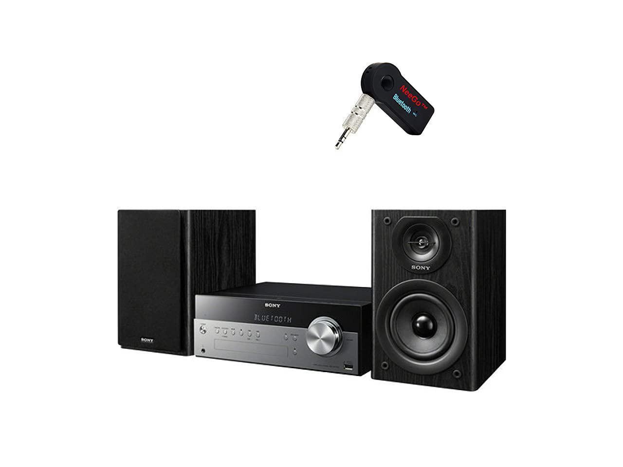 2 2-Way Bluetooth Bass Reflex Speakers NeeGo Bluetooth Receiver; Sony Bluetooth Micro Music System Bundle USB Input Piece Set Includes Micro Hi-fi Shelf System with Single Disc Cd Player