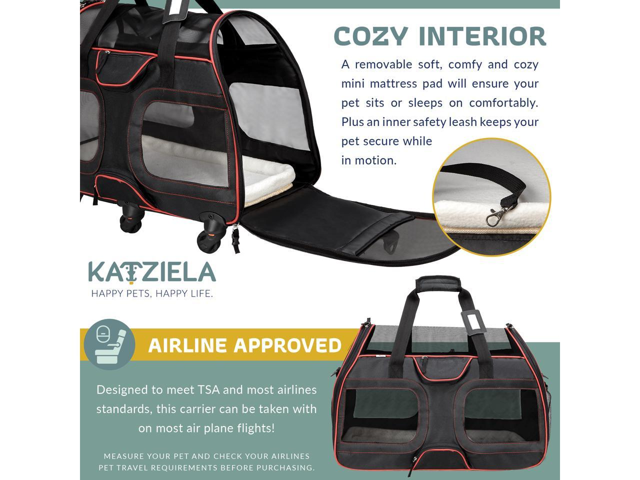 Storage Pockets Mesh Ventilation Windows Katziela Wheeled Pet Carrier Backpack Removable Rolling Wheels Soft Sided Airline Approved Hiking Carrying Bag for Small Dogs and Cats