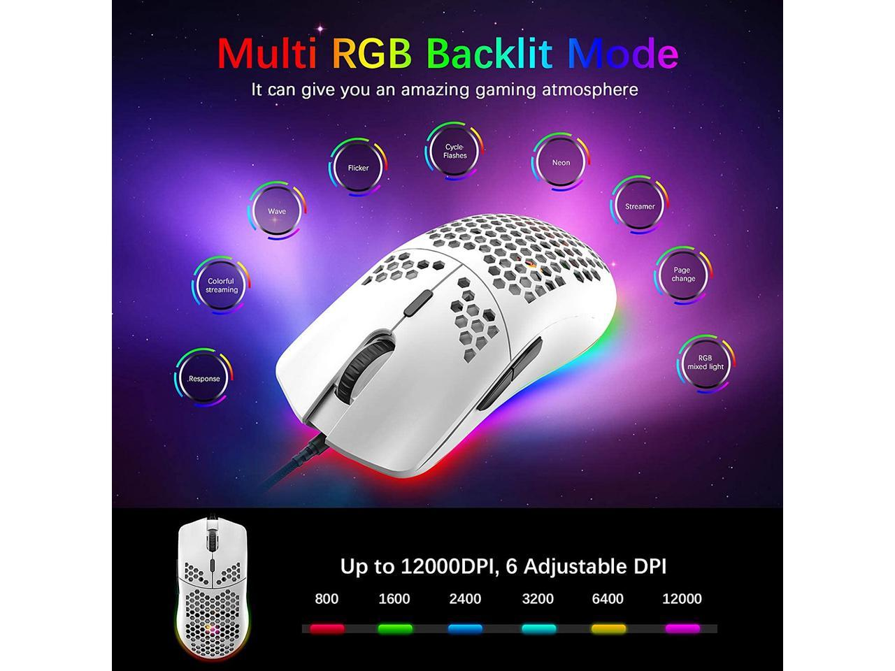 Lightweight Gaming Mouse,26 Kinds RGB Backlit Mice,PixArt 3325 12000 DPI Mouse,Ultralight Honeycomb Shell Ultraweave Cable Mouse and Anti-Key Can Be Set for PC Gamers and Xbox and PS4 Users Pink