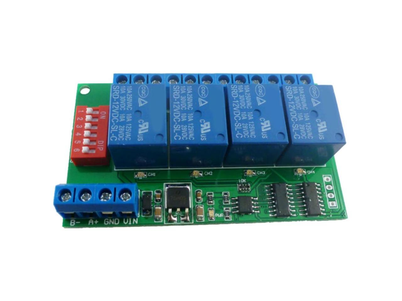 4 Channel Dc 12v Rs485 Relay Module Modbus Rtu And At Command Remote Control Switch For Plc Ptz