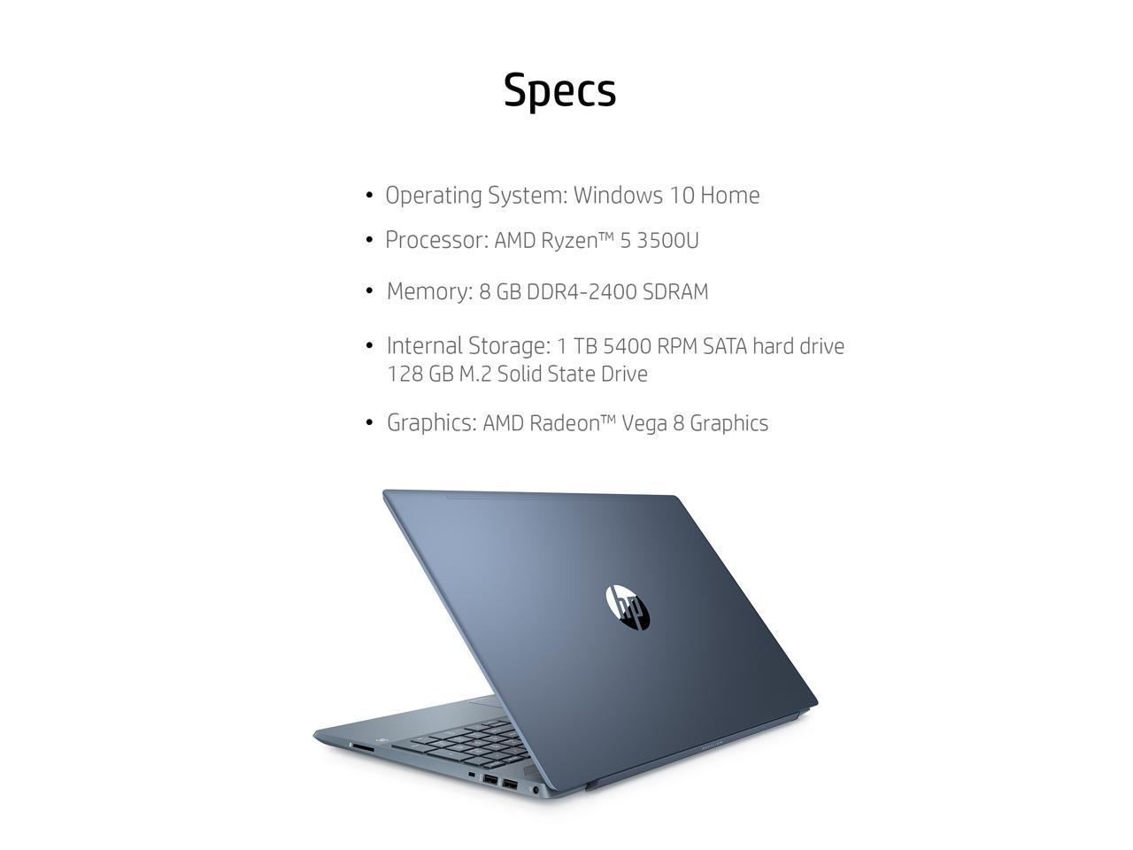 Hp Pavilion Laptop 15 6 Full Hd Display Amd Ryzen 5 3500u Amd Radeon Vega 8 Graphics 8gb Sdram 1tb Hdd 128gb Ssd Horizon Blue 15 Cw1068wm Newegg Com