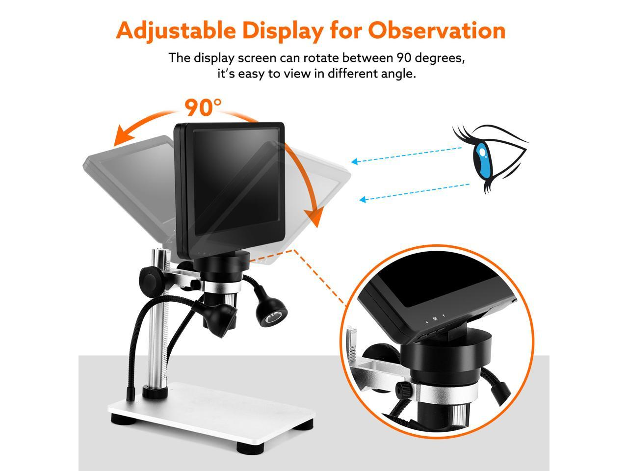 TOMLOV 7 LCD Digital Microscope 1-1200X Magnification with 32GB SD Card Windows//Mac Compatible 12MP Ultra-Precise Focusing Camera 1080P Electric Microscope with Metal Stand