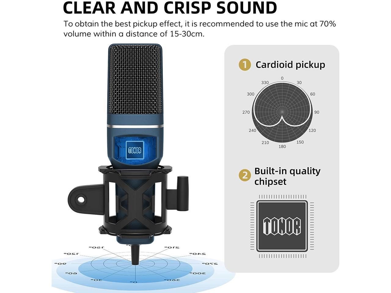 TONOR Computer Condenser PC Mic with Tripod Stand /& Po... USB Gaming Microphone