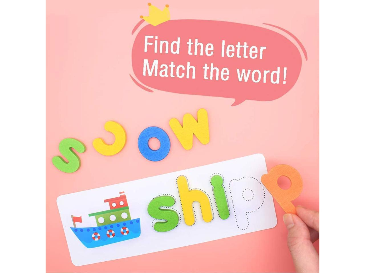 SPABUOG See and Spell Learning Toys Sight Words Games Matching Letter Puzzles Montessori Preschool Educational Toys for Kids Boys Girls Age 3 Years Old 30 Flash Cards and 52 Wooden Alphabet Blocks