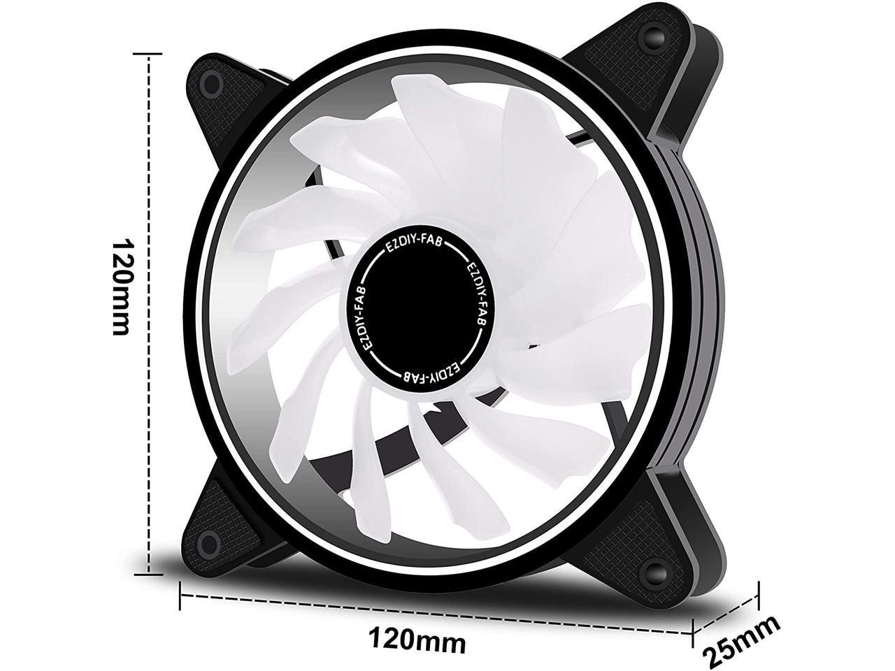EZDIY-FAB Moonlight Ventola da 120mm RGB Case con 10-Port Fan Hub X e Telecomando,Scheda Madre Aura SYNC,Controllo della velocit/à,Ventola Indirizzabile per PC Case-Bianco 6 Pack