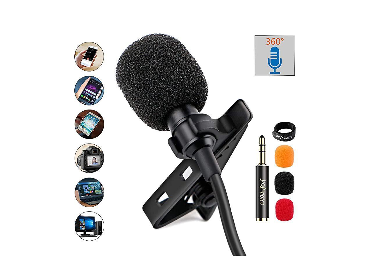 Lav Mics for Phone PC Computer Laptop USB-C Lavalier Lapel Microphone for Android Smartphone with Earphone Jack Mini Omnidirectional Condenser Mic for Video Recording//Interview//Podcast//Streaming