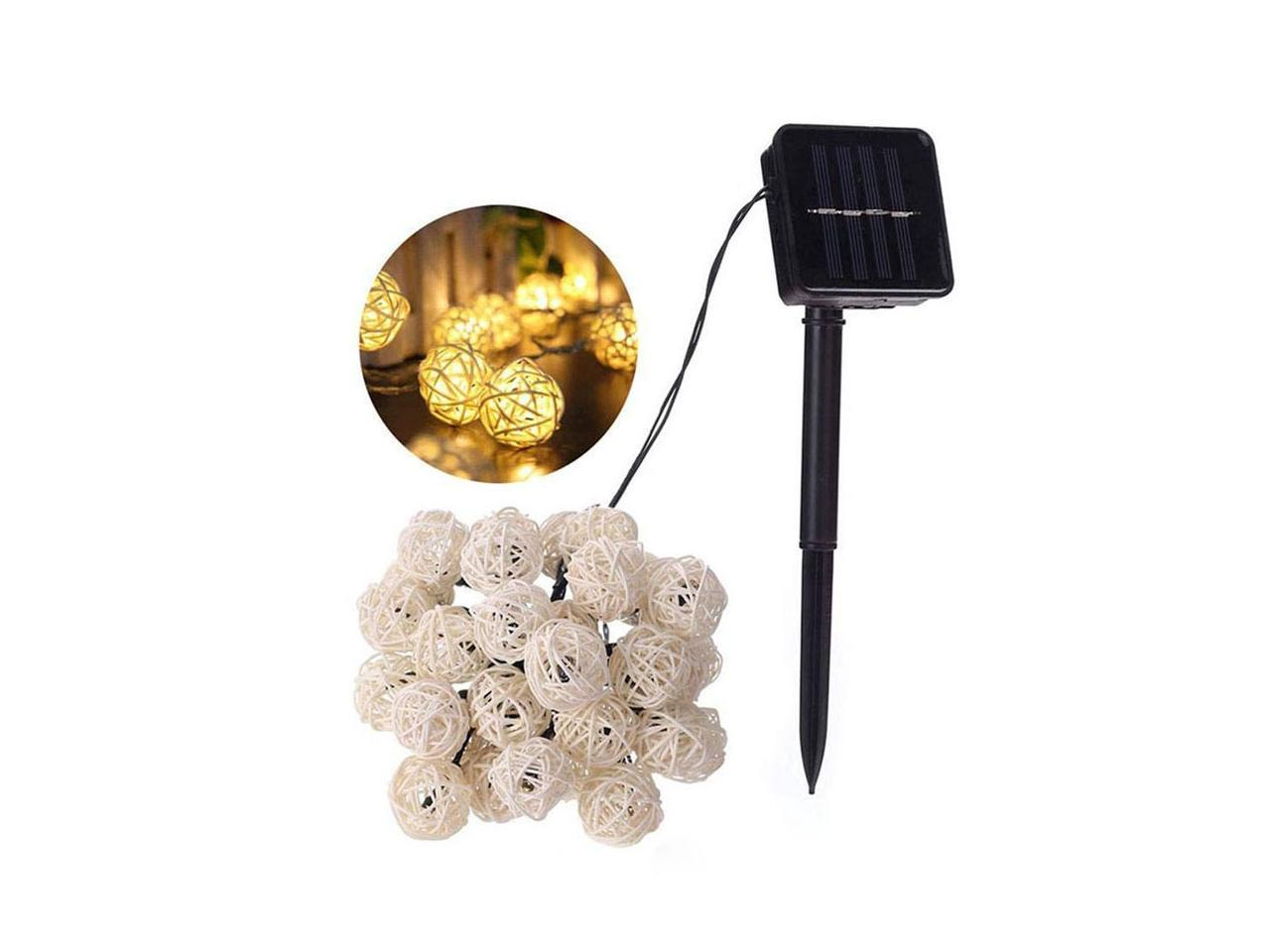 With A Timed Remote Outdoor Garden Solar Led Fairy Tale Outdoor Ball Bulb Patio 2 Modes Waterproof Ideal f/ür DIY With Led Ball 6m 20 Led Balcony