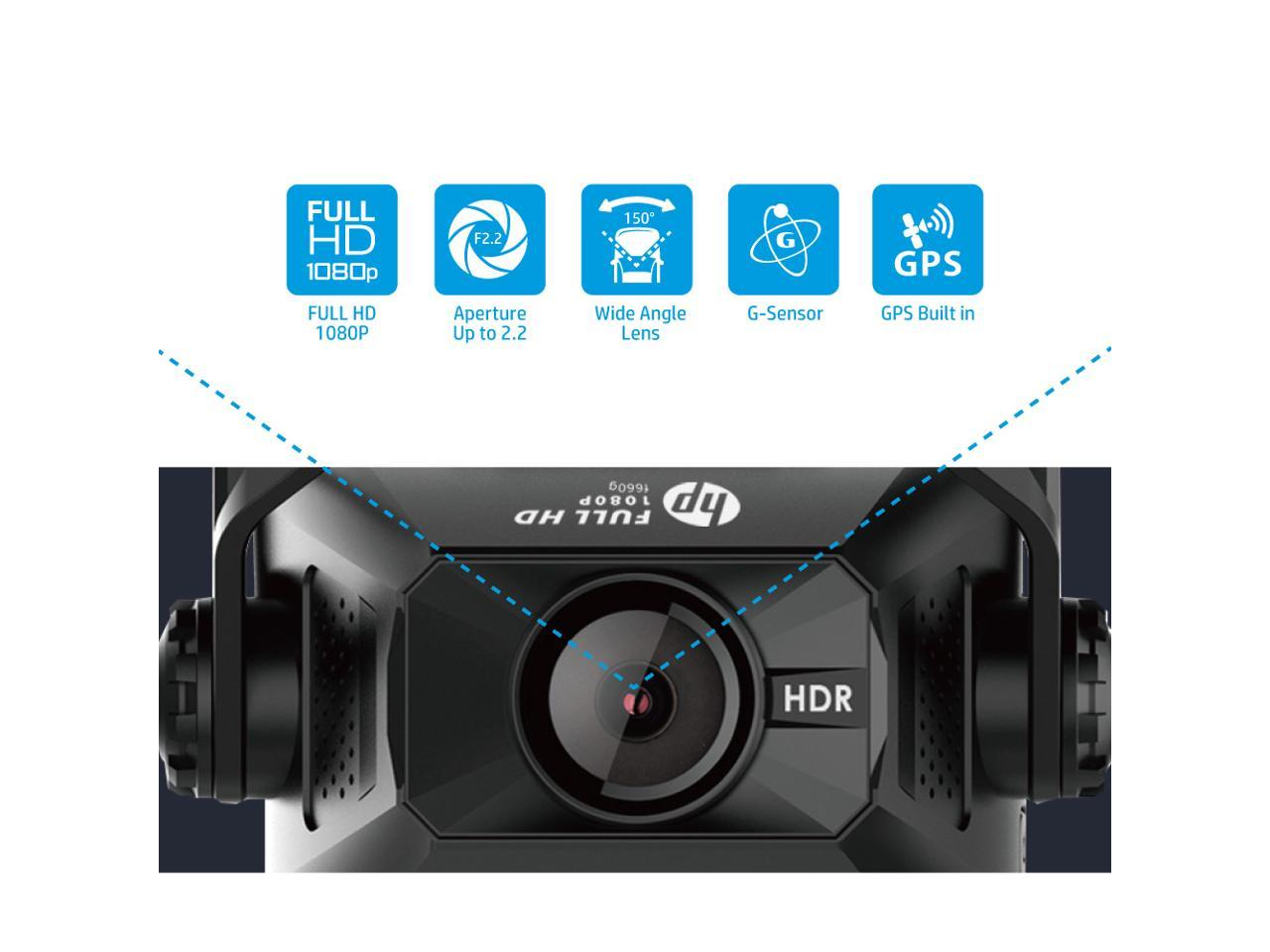 Super Night Vision with Built-in GPS Ultra-Wide Angle Lens 1080P Full HD HP F660G Dual Lens Dash Cam HDR Parking Mode Loop Recording and Emergency Recording