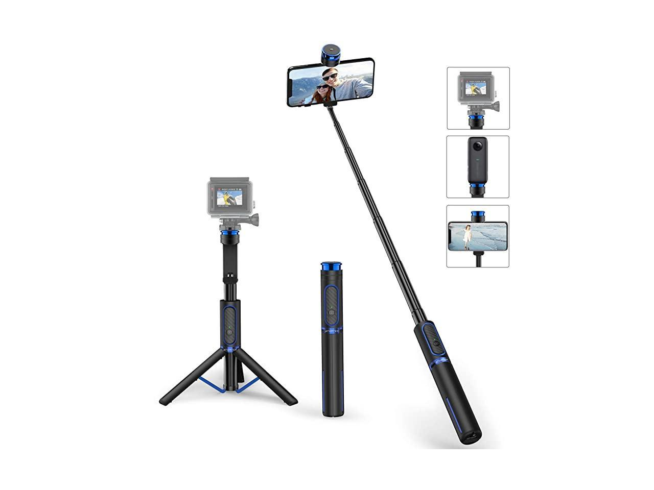 57-inch Phone Tripod Stand Travel Lightweight Android DSLR Compatible with iPhone Action Camera.Includes Wireless Remote Extendable Cell Phone Selfie Stick Cell Phone Holder and Gopro Adapter