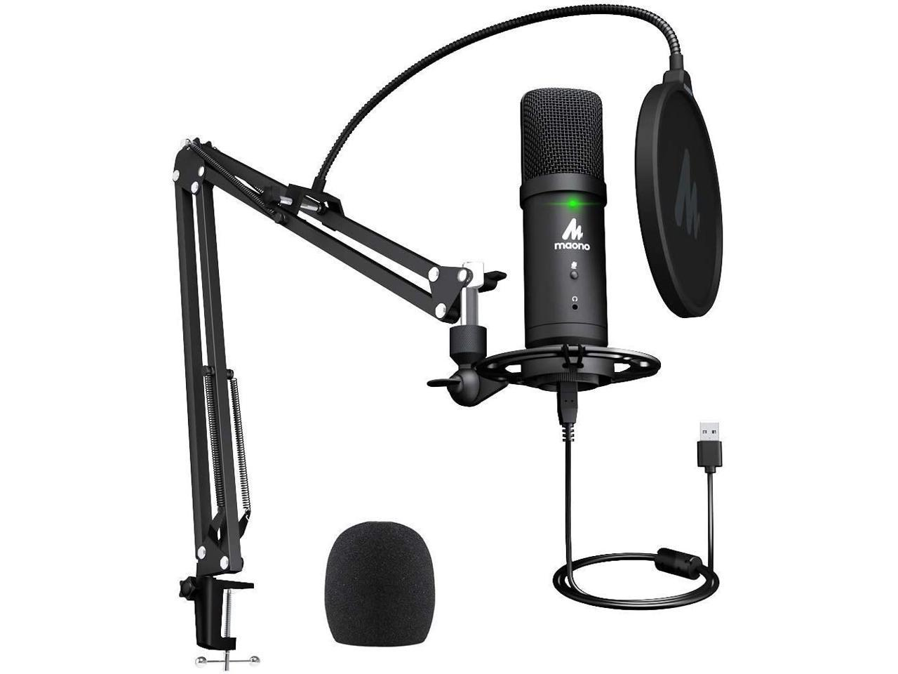 USB Microphone 192KHz/24Bit Zero Latency Monitoring MAONO AU-PM401 USB  Computer Condenser Cardioid Mic with Mute Button for Podcasting, Gaming,  YouTube, Streaming, Recording Music - Newegg.com