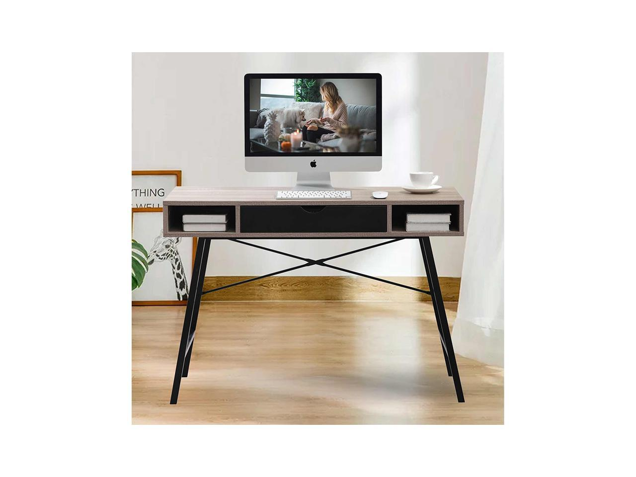 Bonzy Home 43 Inch Computer Desk with Drawer and Shelves