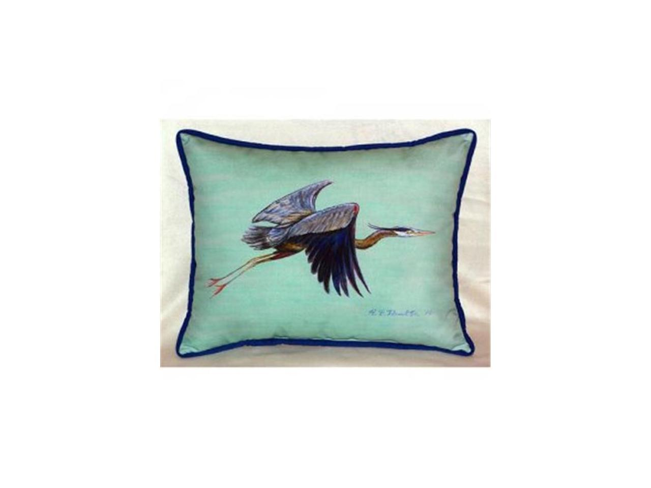 Betsy Drake Hj327c Flying Blue Heron Teal Indoor Outdoor Throw Pillow 16 X 20 In Newegg Com