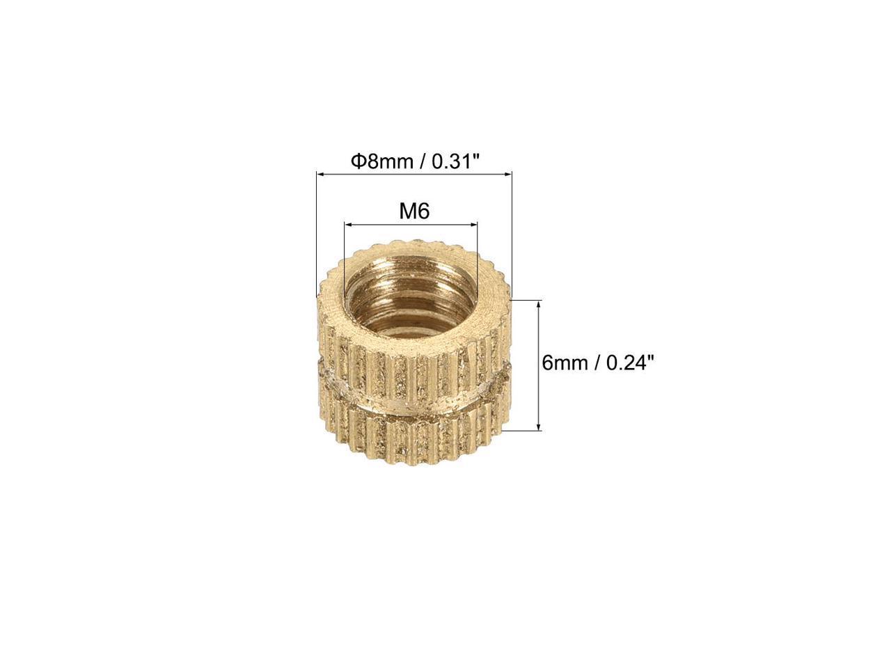 L 20 Pcs OD M6 x 6mm Brass Knurled Threaded Insert Embedment Nuts x 8mm