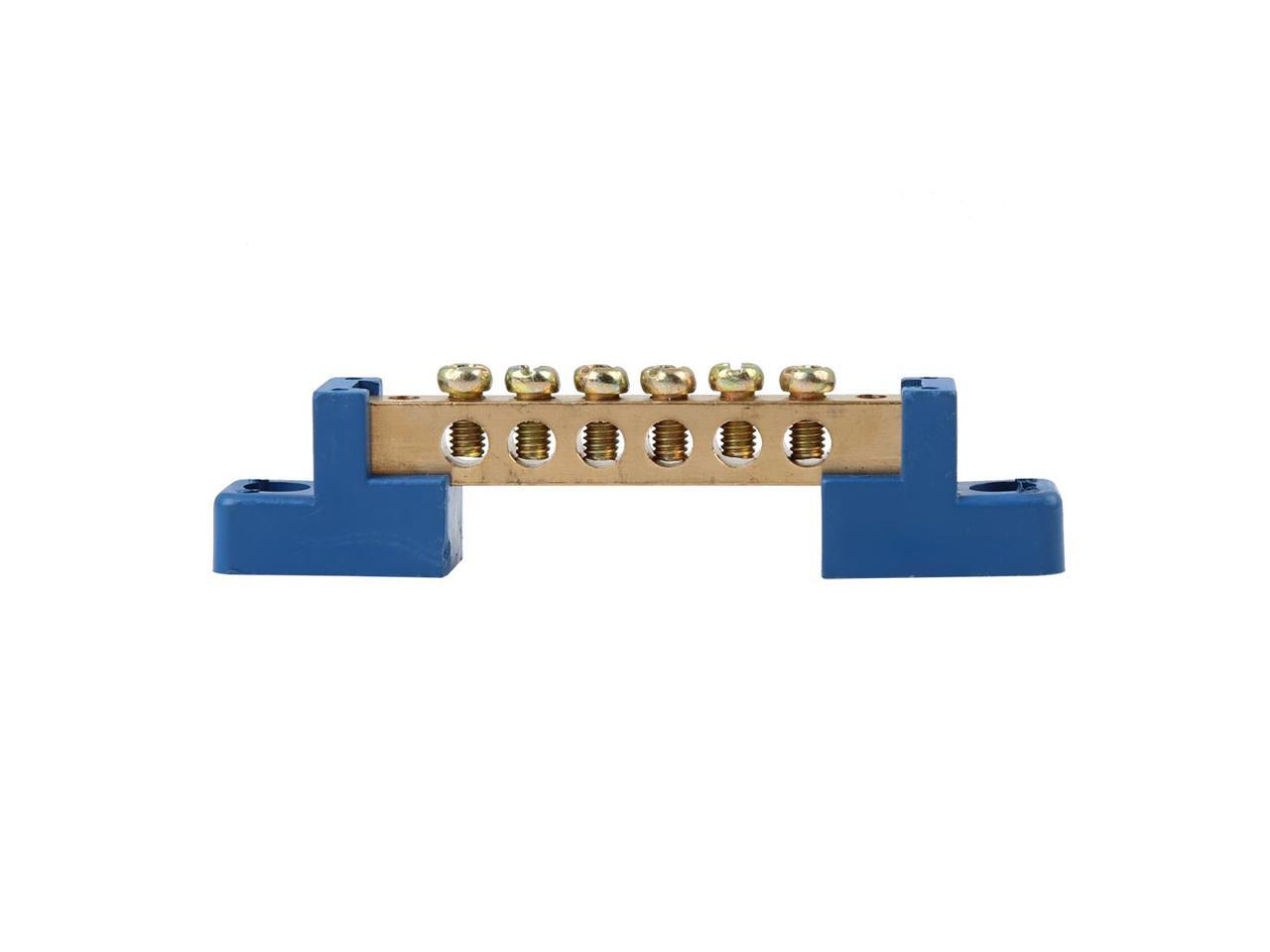 X AUTOHAUX 6 Positions Screw Metal Terminal Grounding Strip Bus Bar Block DC250V 110A