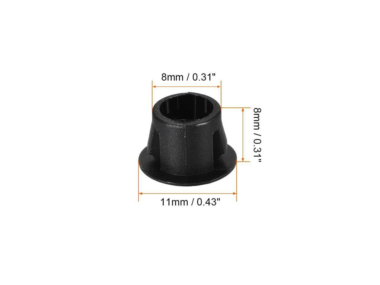 100pcs Mounting 8mm x 8mm Black Nylon Round Snap Panel Locking Hole Plugs Cover