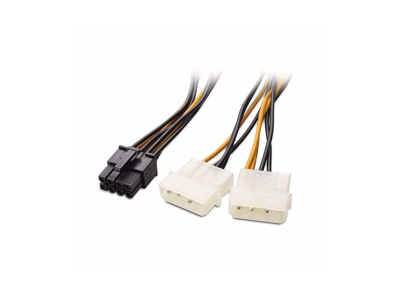 Video Graphics Card Power Cable 2 Pack 6 Pin PCI Express to Dual 4 Pin Molex LP4 Power Cable Adapter