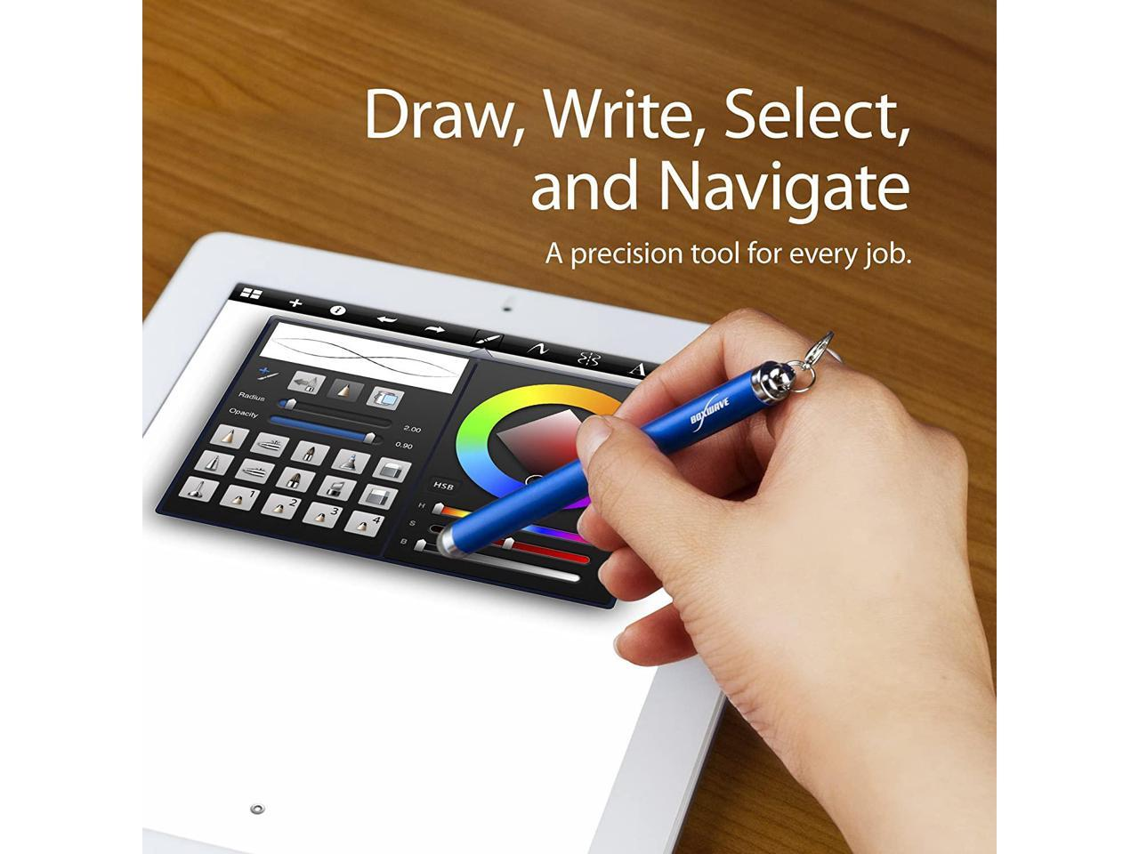BoxWave Jet Black Fiber Tip Capacitive Stylus Pen for Bak USA Atlas EverTouch Capacitive Stylus Bak USA Atlas Stylus Pen