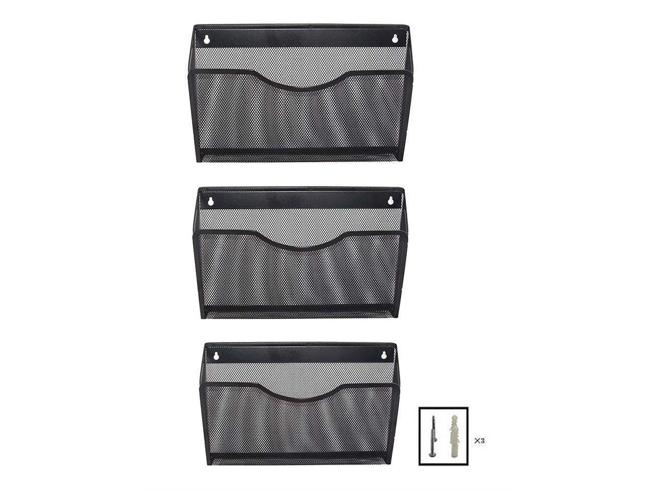 EasyPAG 3 Pocket Office Mesh Wall Mount Hanging File Holder Organizer,Black