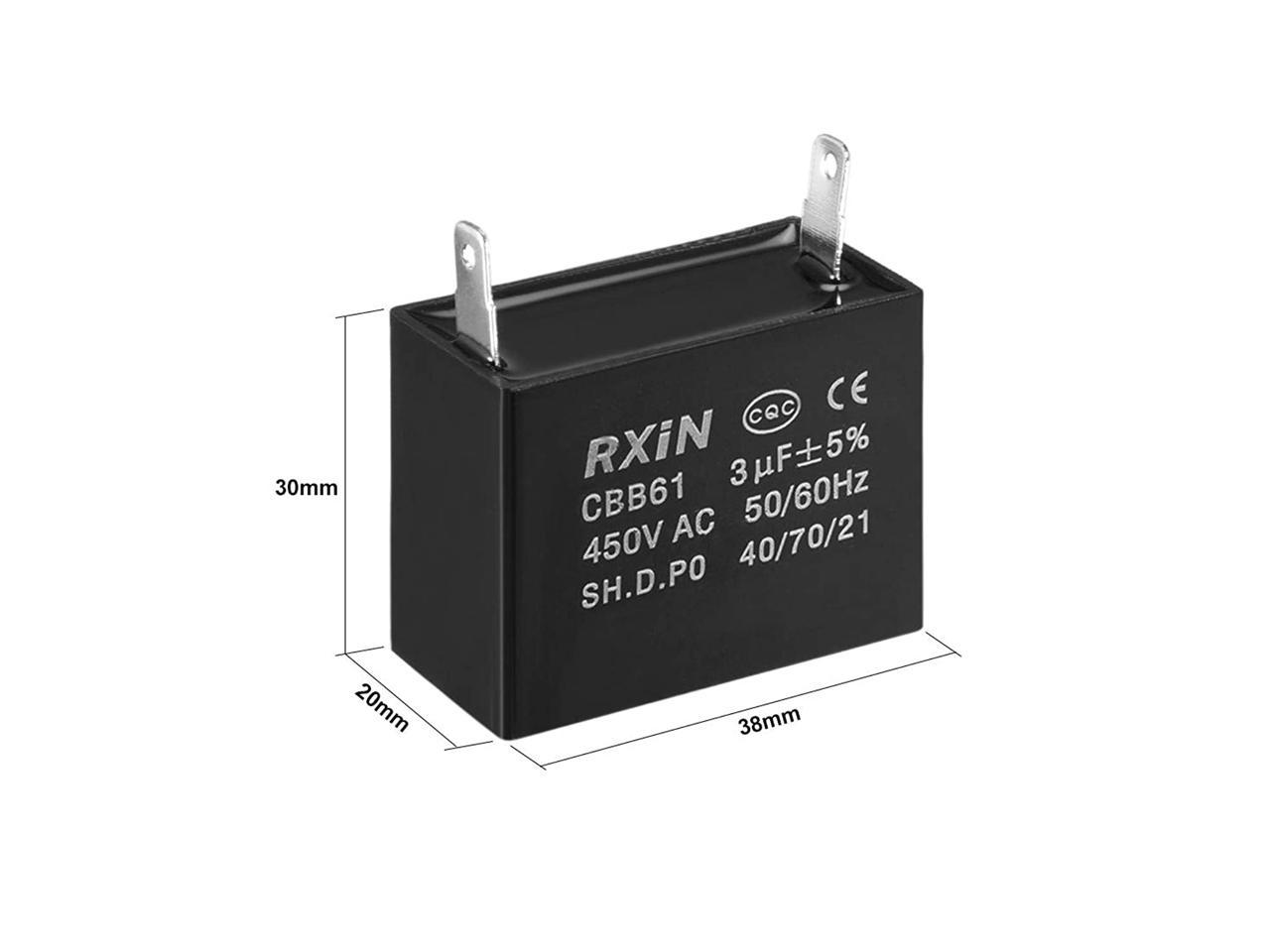 Uxcell Cbb61 Run Capacitor 450v Ac 3uf Single Insert