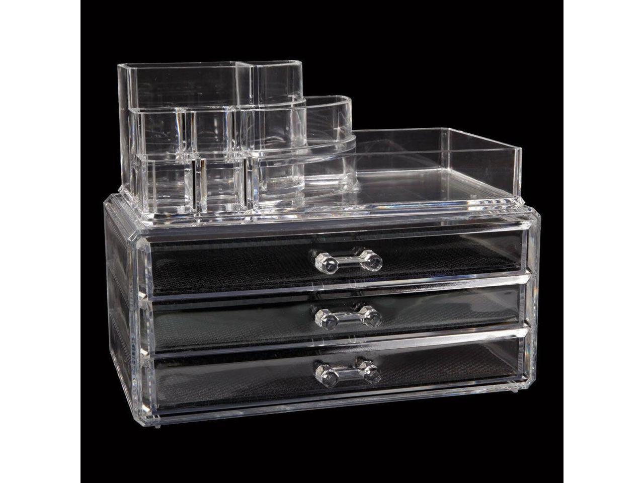Makeup Cosmetics Jewelry Organizer Display Box Storage W Drawers Space Saving Newegg Com