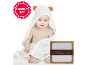 Organic Softest Bamboo Hooded Towel and 2 Washcloth Family Set for Babies, Toddlers, and Parents