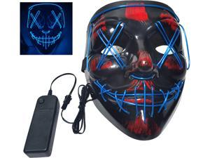 Glow Mask Modes Adjustable EL Wire Light Up Skull Luminous Mask Costume Party for Halloween (Blue, Voice-control)