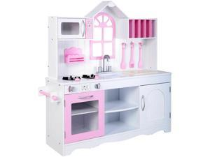 Kids Wood Kitchen Toy Cooking Pretend Play Set Toddler Wooden