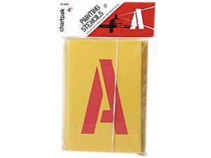 Chartpak CHA01565 Painting Stencil Numbers-Letters- 4in.- Yellow