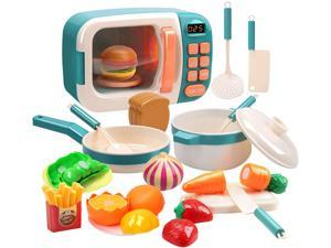 CUTE STONE Electronic Microwave Oven Toys Kitchen Play Set with Play Food and Cooking Utensils