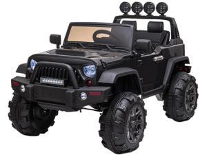 12V 3-Speed Kids Ride on Car Electric Truck Toy with Remote Controller, Storage Box, Music Player, LED Lights - Black