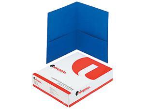 Universal 56601 Two-Pocket Portfolio  Embossed Leather Grain Paper  Light Blue