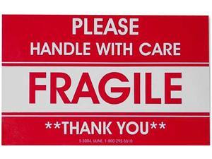 Tatco TCO10951 Shipping Label- Fragile-Handle W Care- 500-RL- Red