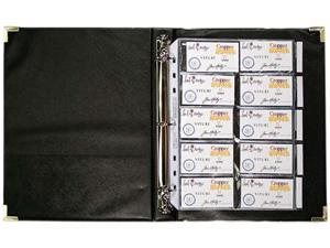 Anglers Company Ltd. ANG303 3-Ring Business Card Binder- 100 Card Cap- 8-.50in.x11in.- Black