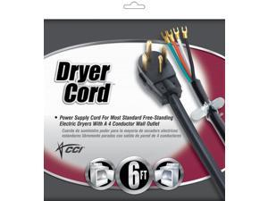 Coleman Cable 09156 6' Black Dryer Cord