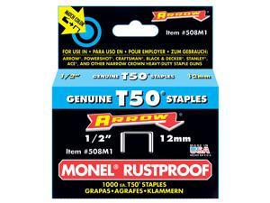 "Arrow Fastener 508M1 1/2"" Monel® Genuine T50® Rustproof Staples"